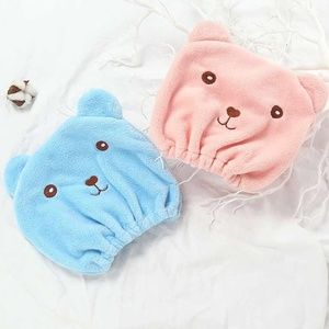 NWT! Microfiber Teddy Bear Shower Cap Set
